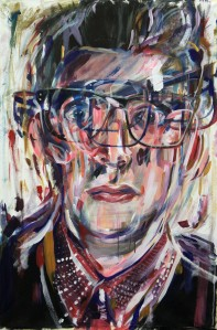 Self Multiple Portrait, 2012, Acrylic on Canvas, 70x160cm