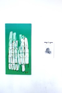 Frame (two), 2014, Inkjet print on Canvas, 80x140cm, Installed with Khmer (one) 2014, Graphite on paper on clipboard, 30x40 cm