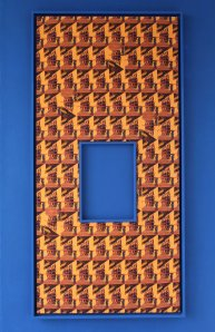 Moana Kavau, Blue Eight, 2014, Inkjet print on hessian, frames, 110x240cm